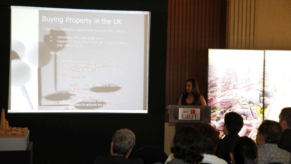 Sunita Shah presenting on the legal aspects of purchase of                    property in the UK